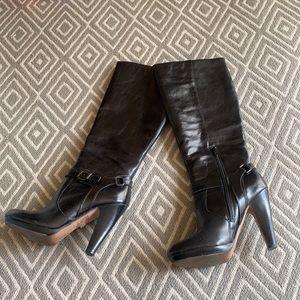 Aldo Black Leather Tall High Heel Boot Size 8.5